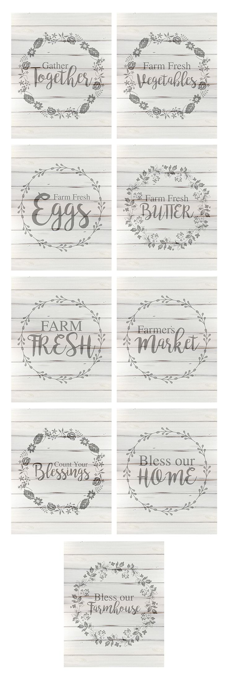 Free farmhouse style printables - perfect for framing and putting up on your wall! This collection of four free printables is offered in both blue and white