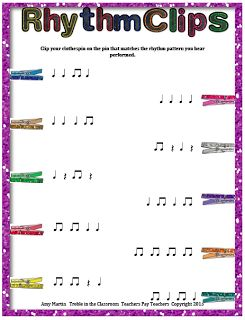 8 levels of rhythm activity for students to clothespin the rhythm they hear performed