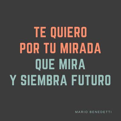 Te quiero por tu mirada que mira y siembra futuro / Mario Benedetti