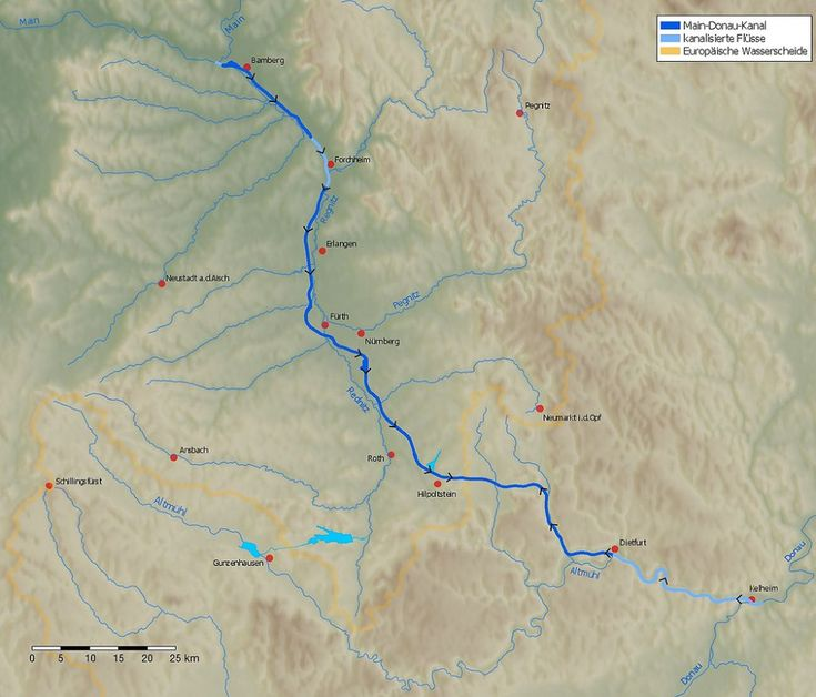 Main Donau Kanal Karte Main Donau Kanal Wikipedia Kaarten Maine