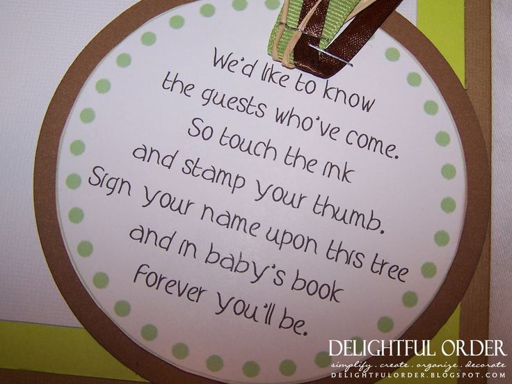 Delightful Order: Little Feet Baby Shower--Saying for a thumbprint tree guestbook
