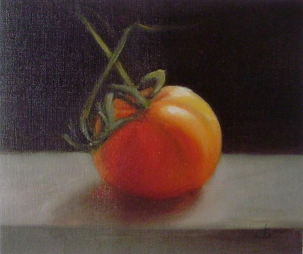 Tomato Original oil painting by Laura Thompson, SOLD. Now available as fine art prints.