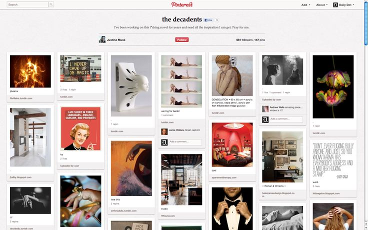 Article - How novelist Justine Musk builds a fictional world on Pinterest
