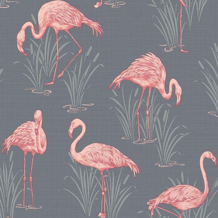 Arthouse Lagoons Flamingos Wallpaper - Grey and Coral - http://godecorating.co.uk/arthouse-lagoons-flamingos-wallpaper-grey-coral/