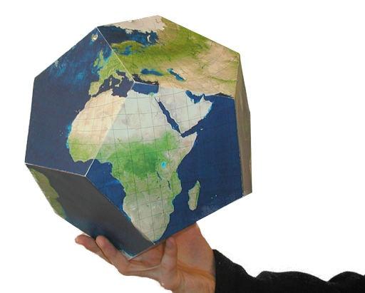 Bouwplaat van een globe van een 12-vlak. Gratis te downloaden.
