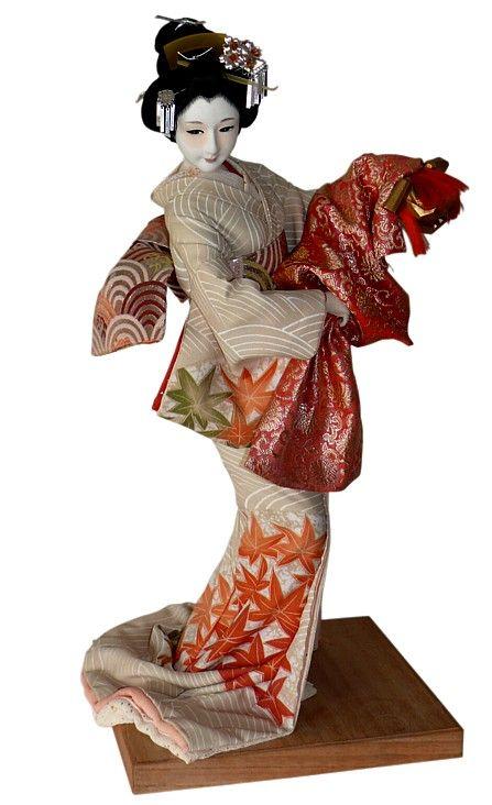 Japanese antique silk faced doll with mask. Japanese Kimono Dolls Catalogue. Japanese Art online shop. The Black Samurai Online Shop.