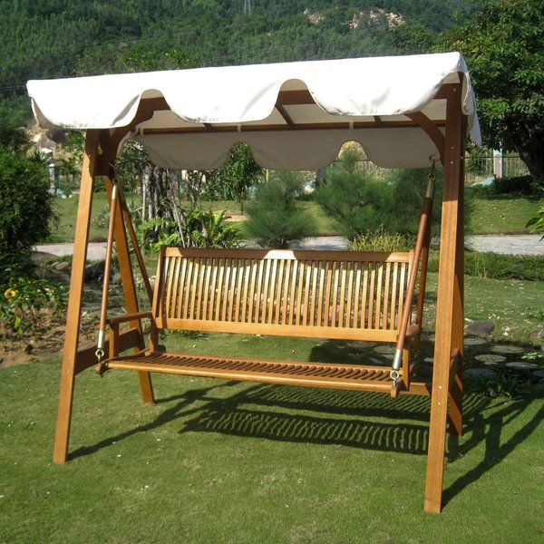 Sabbattus 3 Seater Balau Swing With Frame And Canopy Patio Swing