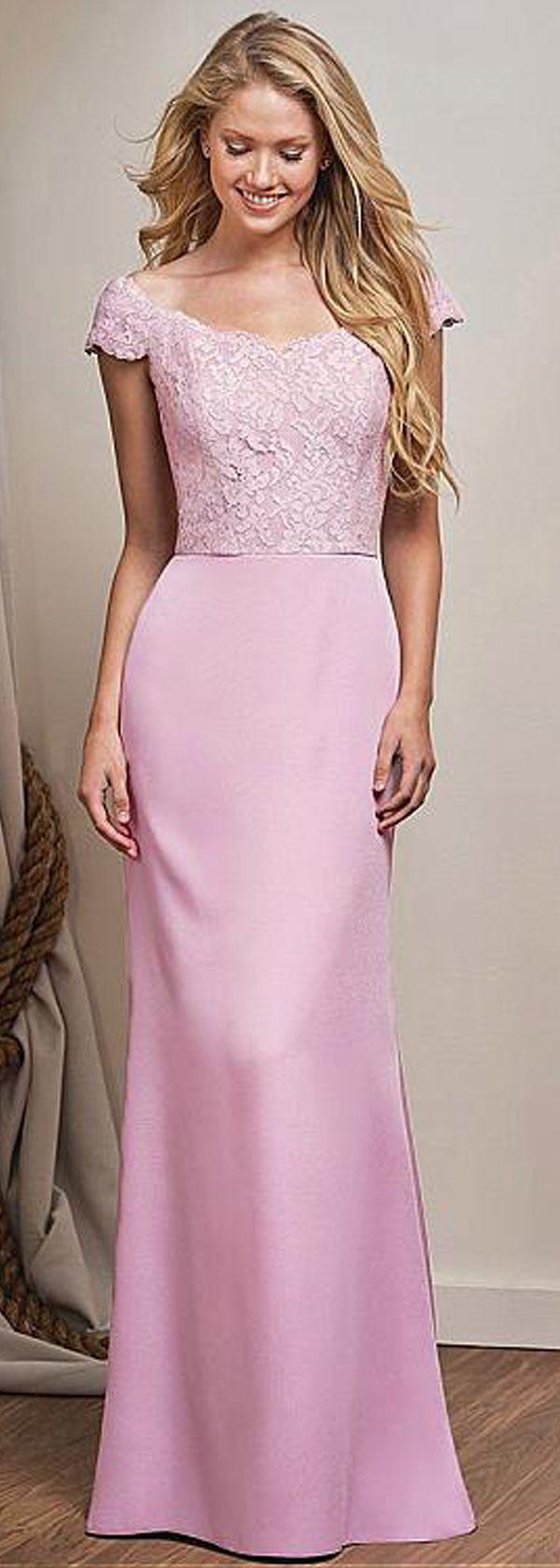 Romantic Lace & Stretch Satin Off-the-shoulder Neckline Sheath/Column Bridesmaid Dresses