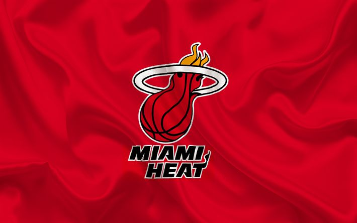 Download wallpapers Basketball club, Miami Heat, NBA, Miami, Florida, USA, basketball, Miami Heat emblem, logo, red silk