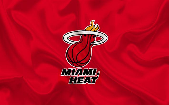 Scarica sfondi Basket club, Miami Heat, NBA, Miami, Florida, USA, basket, emblema, logo, di seta rossa