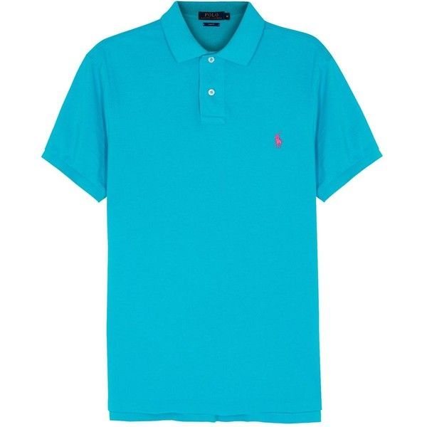 Polo Ralph Lauren Turquoise slim piqué cotton polo shirt ($95) ❤ liked on Polyvore featuring men's fashion, men's clothing, men's shirts, men's polos, mens slim shirts, mens polo shirts, mens orange shirt, men's cotton polo shirts and mens slim fit polo shirts