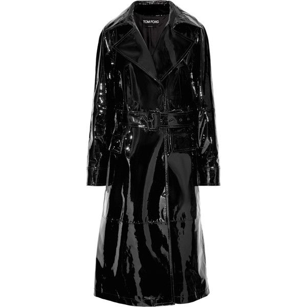 TOM FORD Patent-leather trench coat ($5,790) ❤ liked on Polyvore featuring outerwear, coats, jackets, black, patent coat, trench coats, tom ford coat, patent leather trench coat and lapel coats