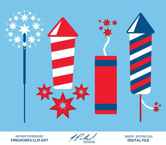 Fireworks Digital Clip Art  Digital Files  Fireworks Clipart