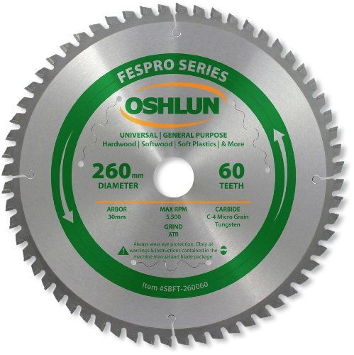 Oshlun SBFT-260060 260mm 60 Tooth FesPro General Purpose ATB Saw Blade with 30mm Arbor for Festool Kapex KS 120:   Our FesPro blades were designed to produce industrial quality cuts at an affordable price with a Festool saw. They feature micro grain tungsten carbide tips, laser cut expansion slots, and a thin kerf. The long lasting C-4 carbide tips are precision ground to ensure smooth cuts. All trademarks and trade names are property of their respective owners.