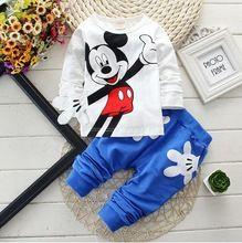 Primavera del fumetto dei bambini che coprono gli insiemi delle ragazze dei ragazzi minnie cotone a maniche lunghe camicie + pantaloni del bambino tute sportive per bambini vestiti casuali  (China (Mainland))