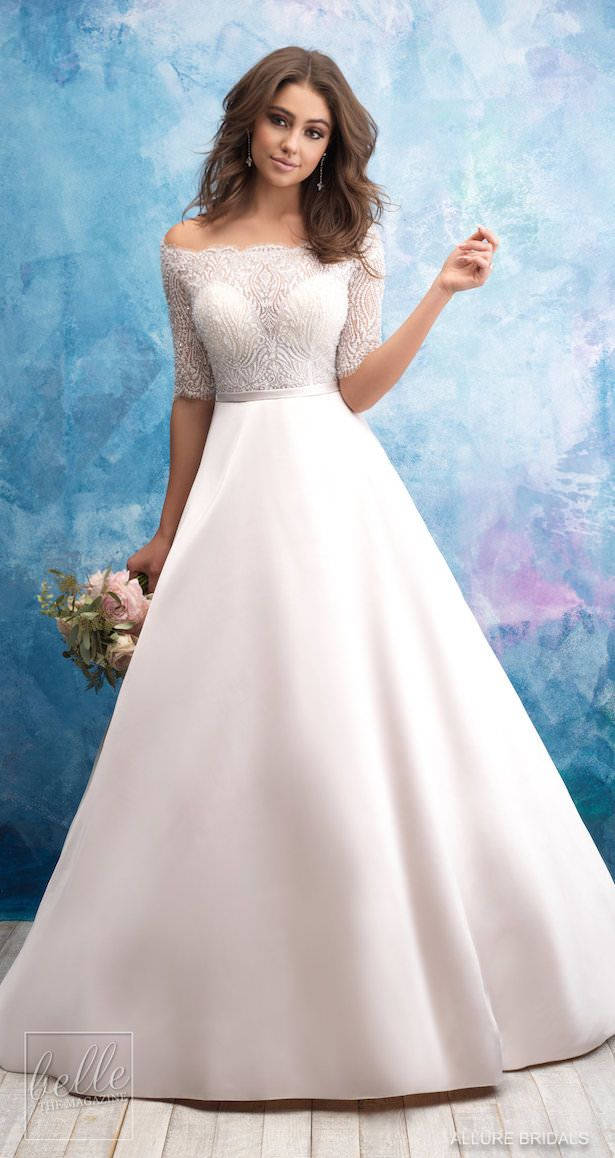1044286ef Allure Bridals Ball gown Wedding Dress Collection Fall 2018 | Lace top silk  skirt bridal gown with sleeves | off the shoulder princess wedding gown ...