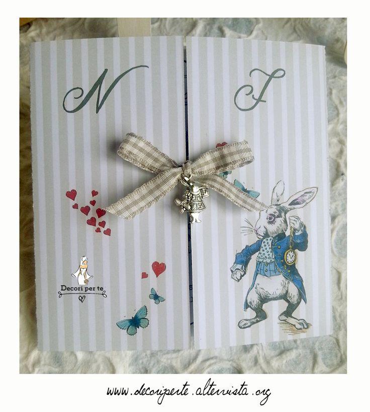 """COORDINATO """"ALICE nel PAESE delle MERAVIGLIE"""" - ALICE IN WONDERLAND wedding invitations Partecipazioni"""