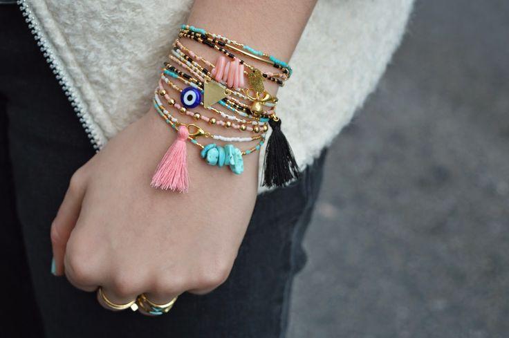 The Camelia: DIY - Bracelets fins en perles de rocailles DIY beads bracelets,layering