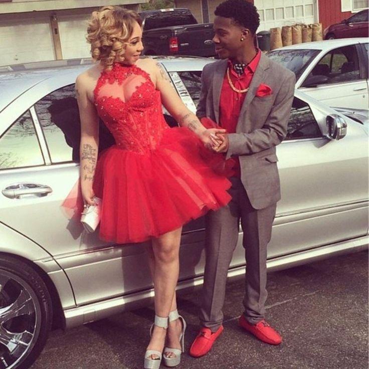 Homecoming dresses 2016 Halter Appliqued Beaded A Line Mini Red 8th grade Junior Graduation Cheap vestidos cortos de 15 Party