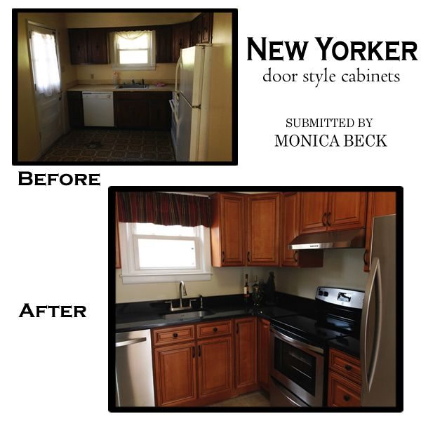 New Yorker kitchen cabinets before and after photos submitted by MONICA BECK.