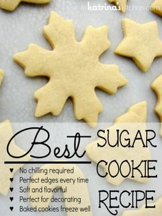 Best Sugar Cookie Recipe 1 Cup unsalted butter, softened 1 Cup granulated white sugar 1 teaspoon vanilla extract 1/2 teaspoon almond extract 1 egg 2 teaspoons baking powder 3 cups all purpose flour