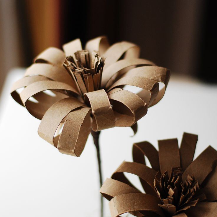 Paper flower made out of toilet paper roll.
