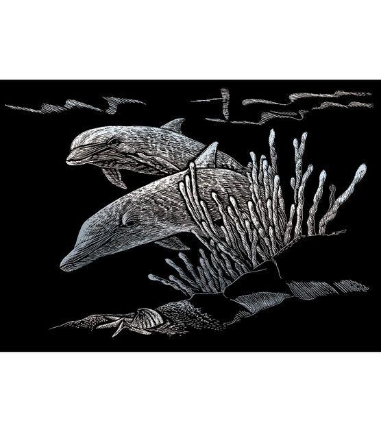"Silver Foil Engraving Art Mini Kit 5""X7""-Dolphin Reef"
