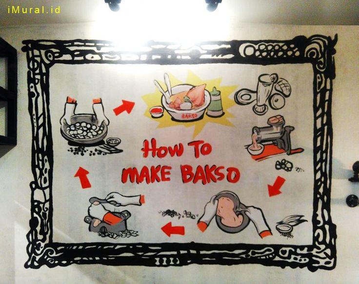 Mural Proses Pembuatan Bakso di Bakso Lapangan Tembak Senayan Cirebon-Mural Restoran-Dekorasi  Dinding