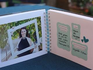 Idee Gästebuch von scrapper's delight:  Foto auf der linken Seite und auf der rechten Seite 3 Fragen - so muss man sich nicht lange etwas überlegen als Gast.   SUPER!