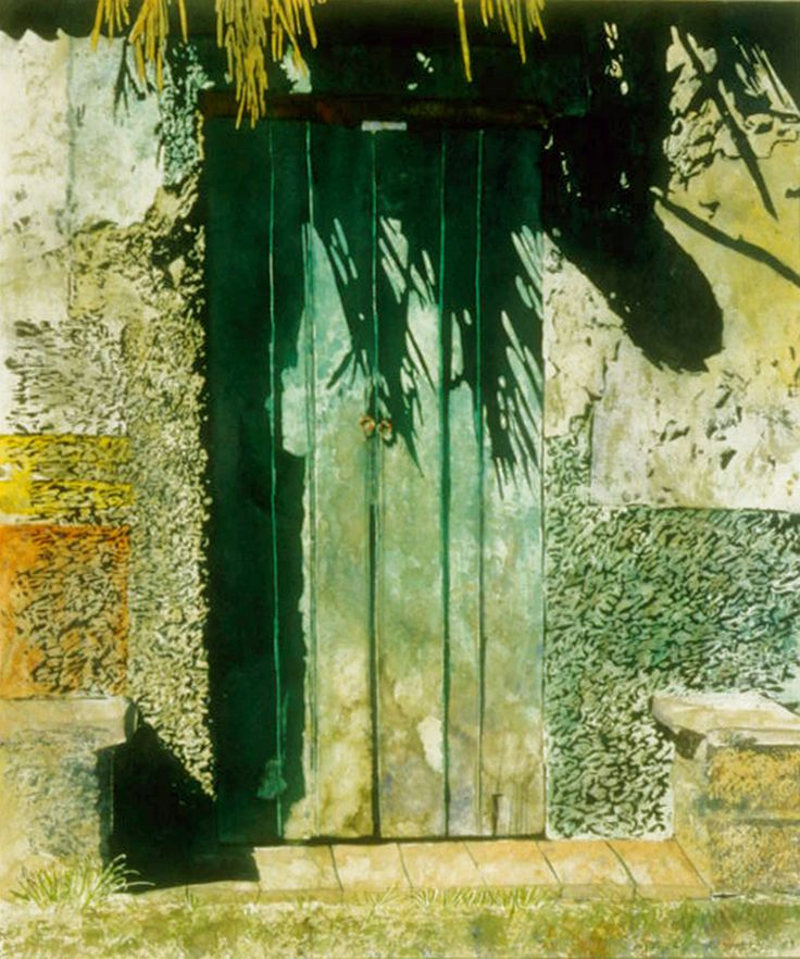 "sunlit door chichen (itza). mexico  26"" x 20""  micheal zarowsky / watercolour on arches paper (private collection)"