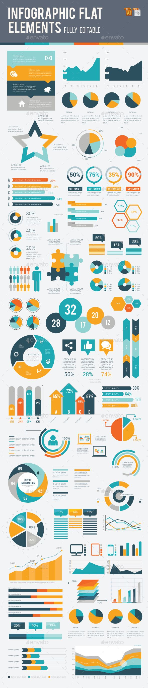 Infographic Flat Elements Vector EPS, AI Illustrator