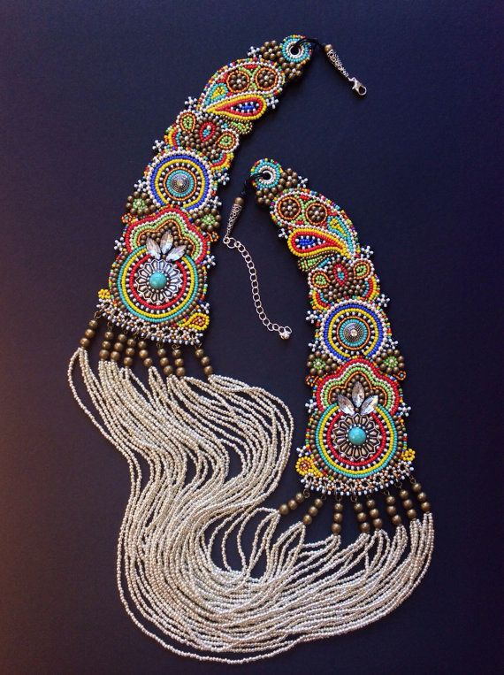 Bead embroidery by Perlenibella amazing tribal , beaded boho gypsy statement mecklce perfect for that traditional mexican folk frida style