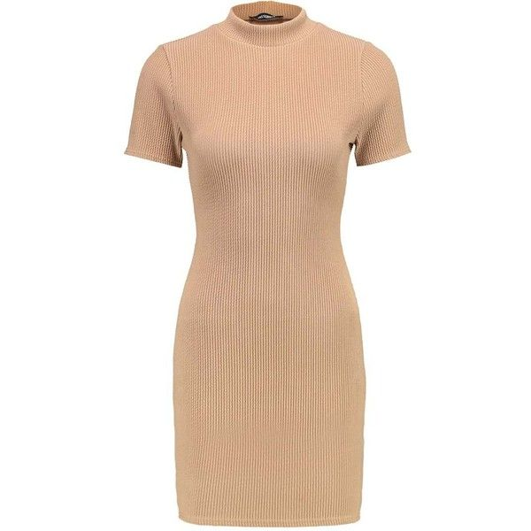 Missguided Petite Summer dress camel (€21) ❤ liked on Polyvore featuring dresses, haljine, beige summer dress, beige dress, summer day dresses, summer dresses and summery dresses