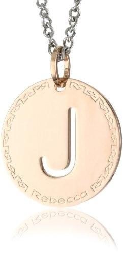 "REBECCA ""Word"" Rose Gold Over Bronze Letter ""J"" Necklace"
