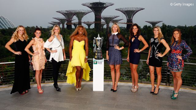 And at the center of the iconic WTA Finals photo - the iconic Billie Jean King Trophy...