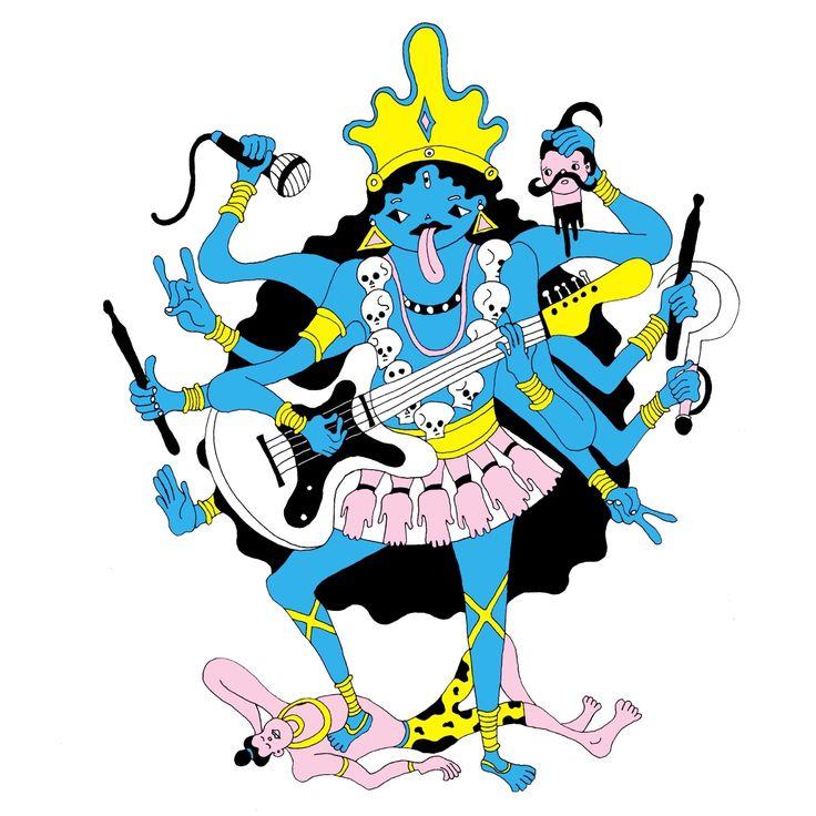 """  Kali  ""   original ver.  Illustrations for the Rock Festival T-shirtNAONのYAON 2015~SUMMER~のグッズTシャツのイラストレーション原画"