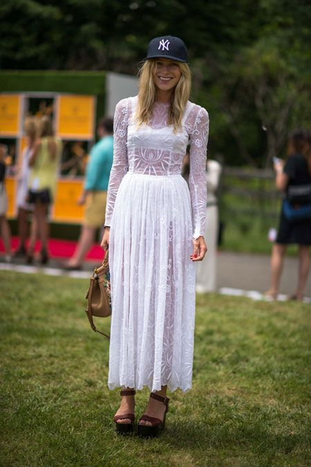 O.M.Dree! Only Hemingway could pull off this lace frock and a flat-brimmed Yankees cap at the fifth annual Veuve Clicquot Polo Classic: Inspiration, Girl, Baseball Cap, Style, Dree, Dresses Skirts S S, Flat Brimmed Yankees, Aut Win 12, Maxi Dresses Skirts