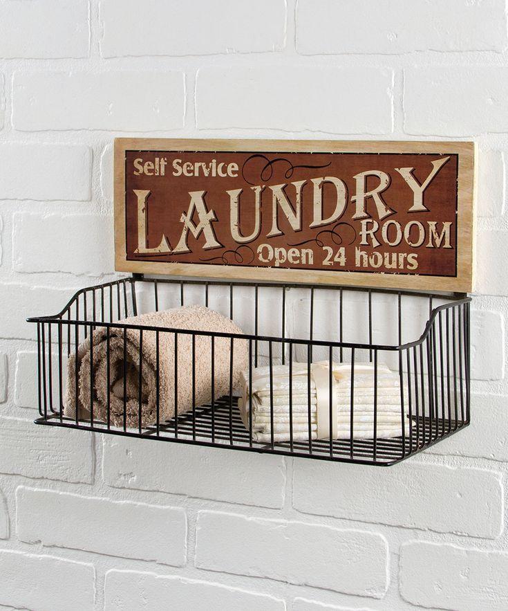 'Self Service Laundry Room' Wall Basket