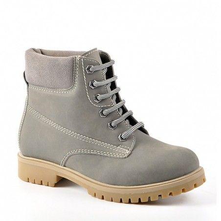 a99997a08c5b chaussures femme CUIR boots bottines avec LACETS GRIS