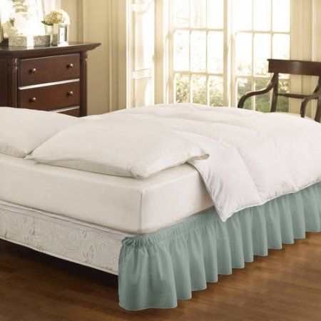 EasyFit Wrap Around Solid Ruffled Bed Skirt, Blue