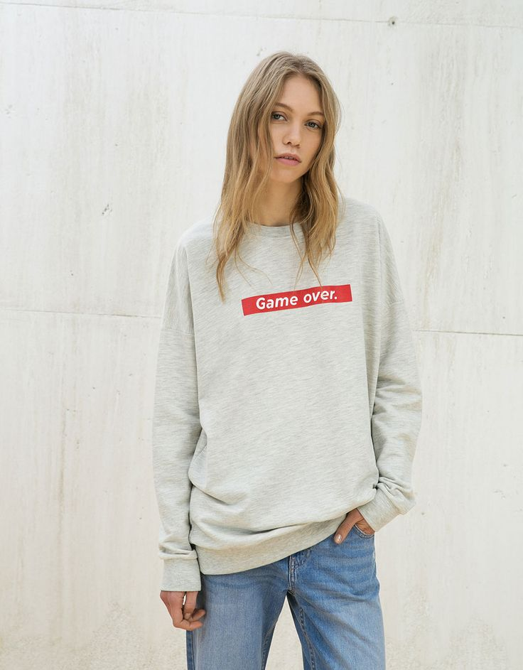 Sweat-shirt oversize texte - Sweat-shirts - Bershka Belgium
