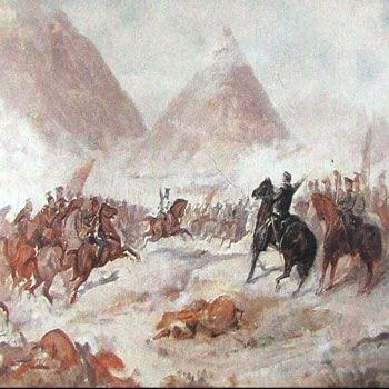 Pan de Azúcar. Carga final de la caballería chilena en la última fase de la batalla.