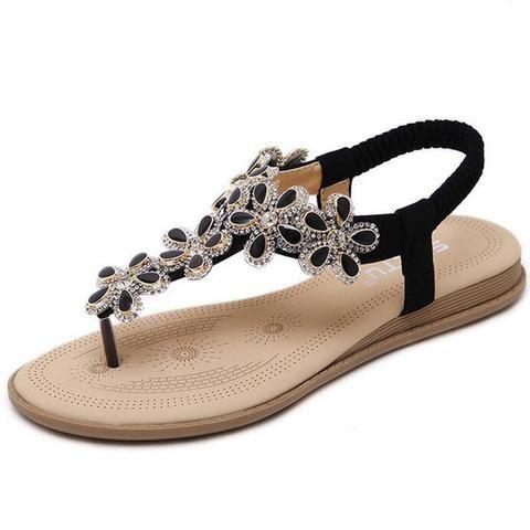2017 New Fashion Bohemian Rhinestone Flowers SandalsShoes