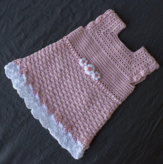 Roze jurk gehaakte Baby kleding Baby jurk haak door DaisyNeedleWorks