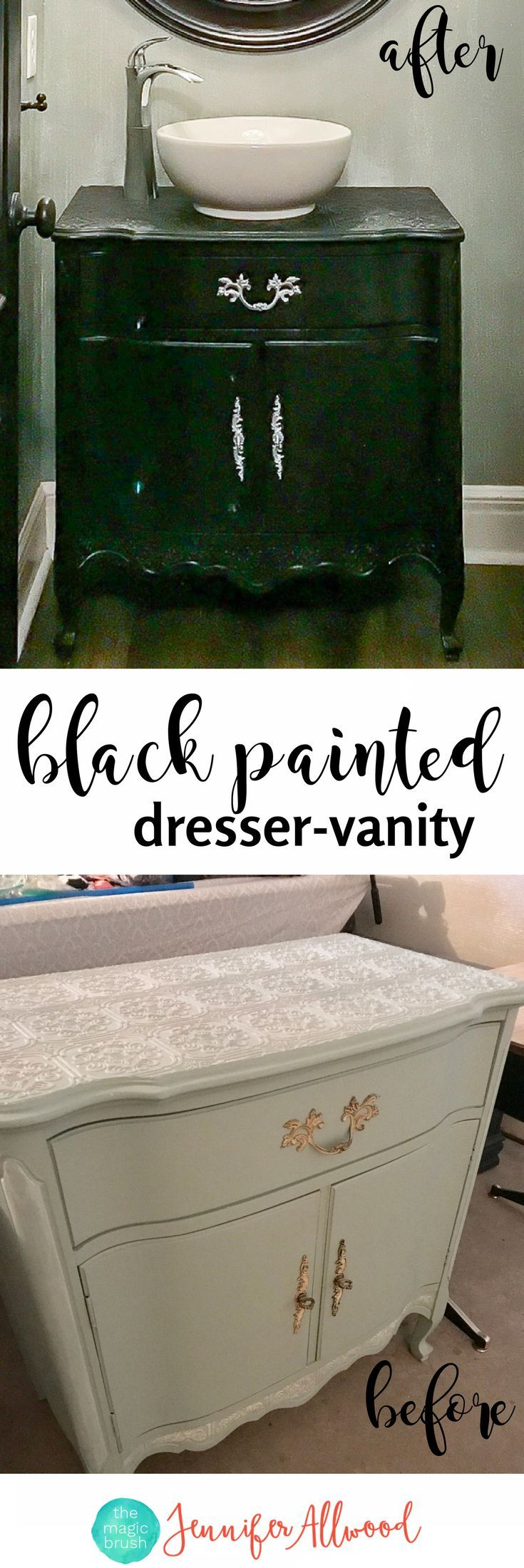 How to Make a Black Dresser Bathroom Vanity Cabinet | Convert an old dresser into a vanity cabinet | black & grey bathroom ideas by Jennifer Allwood