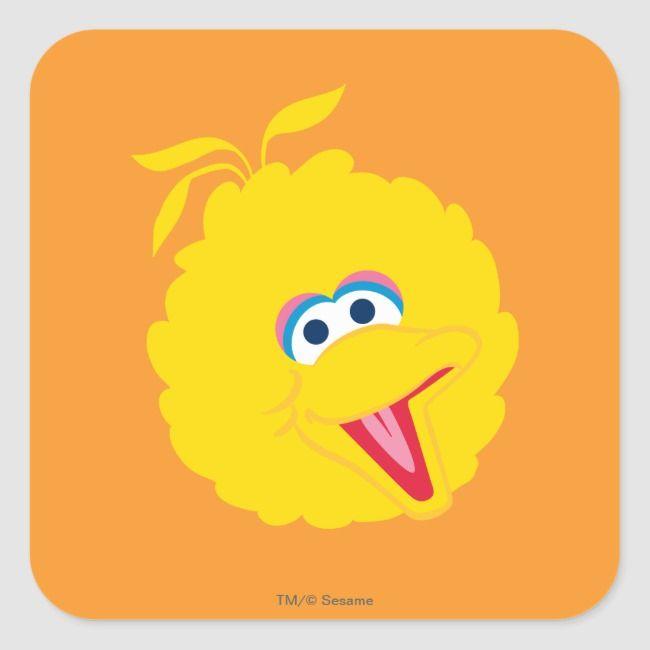 Big Bird Face Square Sticker Zazzle Com Big Bird Bird Big Bird Sesame Street