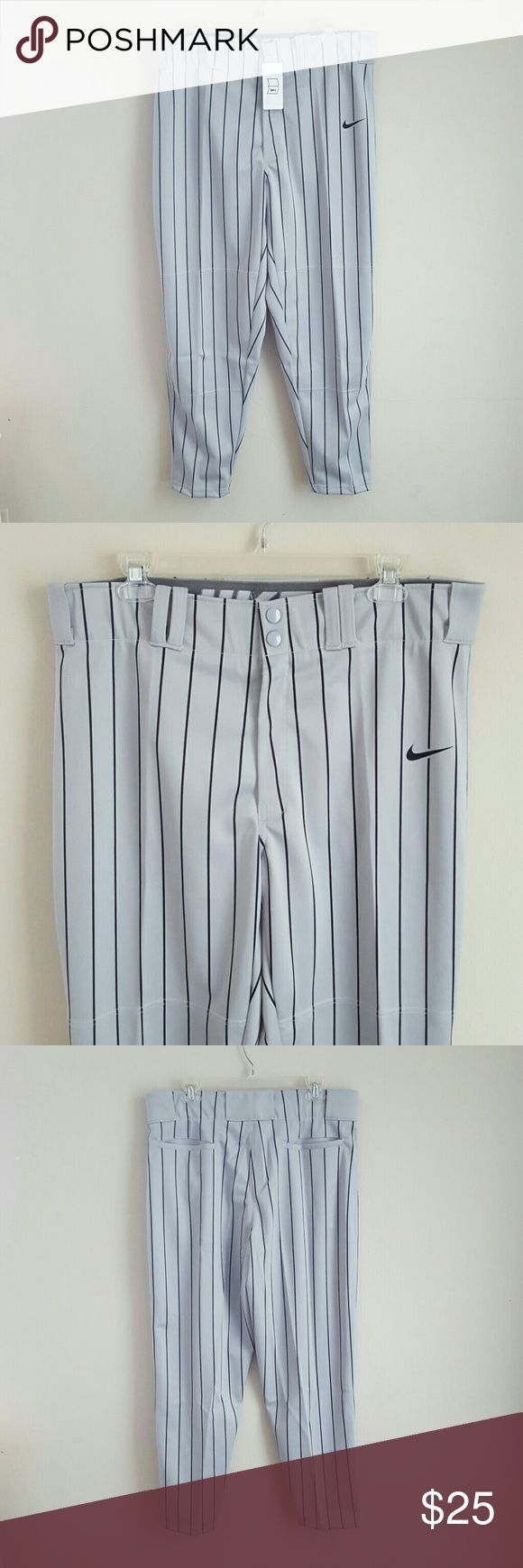 """NWT Nike Baseball Pants New with tags Nike baseball pants, gray with black vertical stripes. Size Large. These pants are a Nike """"sample"""", they are nwt (I removed from plastic retail  bag to take photos) and I see no issues/flaws/damage on them. Nike Pants Sweatpants & Joggers"""