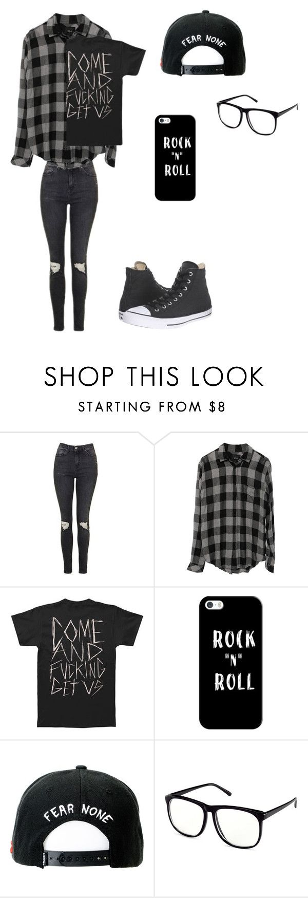 """""""Untitled #42"""" by darksoul7 on Polyvore featuring Topshop, Casetify, Trukfit, H&M and Converse"""