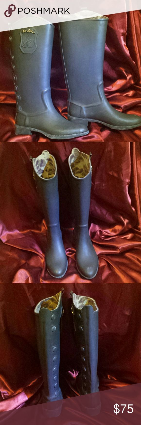 "Sam Edelman rain boots, sz7 Rubber rain boots, off blAck/grey black, 16"" shaft, size 7 Sam Edelman Shoes Winter & Rain Boots"