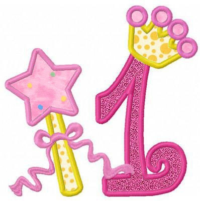 set of 9 princess crown numbers applique machine by FunStitch, $6.50